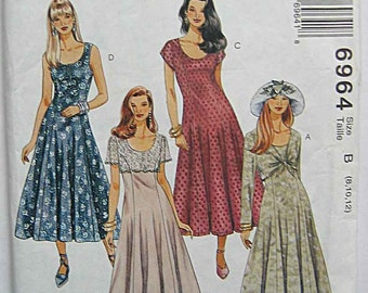 Misses' Easy Dresses McCall's 6964 Sewing Pattern UNCUT Sizes 8, 10, 12