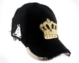 unisex black wool baseball cap gold metal crown bling bling rapper hip hop DJ MC locker unusual unique statement head wear