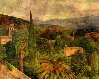 Fine Art Color Landscape Photography of a View From the Alhambra Towards the Sierra Nevada Mountains