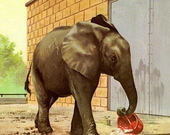 Vintage Elephant print, zoo animal print for nursery decor or toddler bedroom