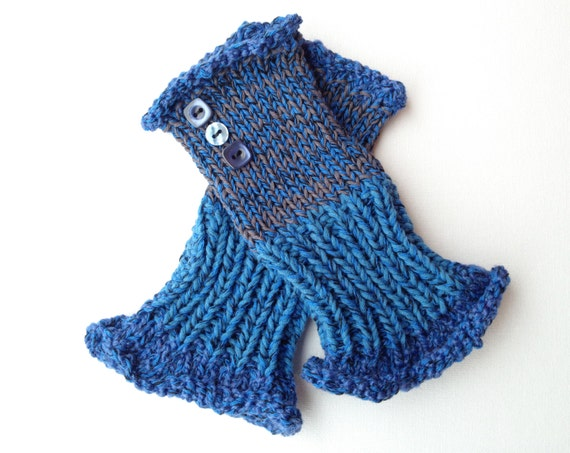 Fingerless Mitten - Moonlight Frilly Fingers - Blue Fingerless Wrist Warmer