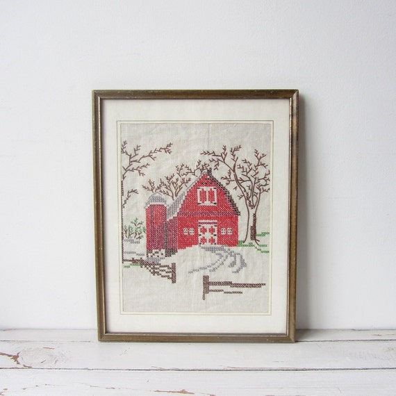 VIntage / Cross Stitched Red Barn