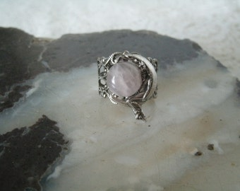 Goddess On Crescent Moon Ring, wiccan jewelry pagan jewelry wicca jewelry goddess jewelry witch witchcraft metaphysical magic wicca ring