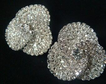 Rhinestone Bridal Earrings / Rhinestone orchid earrings / crystal rhinestone wedding studs / bridal post earrings