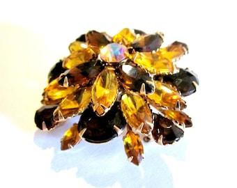 Vintage Rhinestone Brooch Yellow Wedding Gold Amber Rootbeer Brown Pin Large Brooch