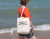 Dragonfly screenprinted cotton tote - Reusable grocery bag - eco-friendly alternative - book bag - beach bag