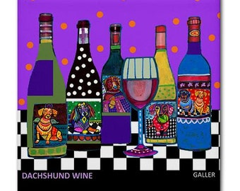 Dachshund Art Wine Bottles Ceramic Tile Doxie Dogs