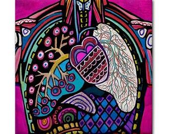 Heart Lungs Anatomy Art Tile Ceramic Coaster Medical Science Print on Tile (HG686)