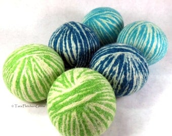 Wool Dryer Balls - The Grass is Greener - Set of 6 Eco Friendly - Can be Scented or Unscented