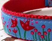 Red Tulip Dog Collar, Adjustable Pet Collar, Ribbon, Flower, Floral