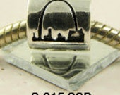 St. Louis, Missouri Arch -  Sterling Silver Plated European Big Hole Charm