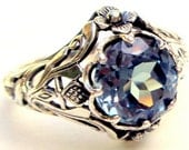 Color Change Alexandrite Ring,Czochralski Lab Created Alexandrite Stone,Antiqued Sterling Silver Setting,Neo Victorian, Edwardian Design