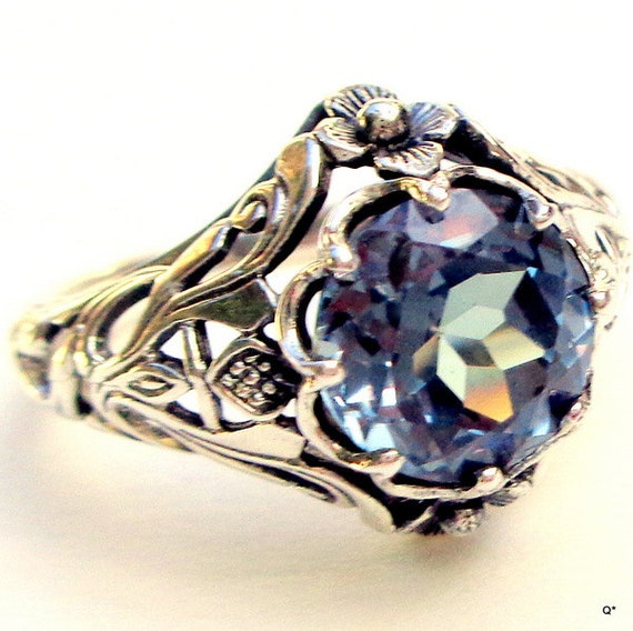 Vintage Alexandrite Ring, Sterling Silver Ring,Color Change Stone ...