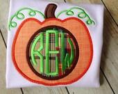 Boy Monogrammed Pumpkin Shirt