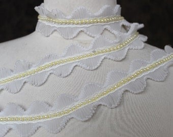 White color  beaded organza    trim 1  yards listing