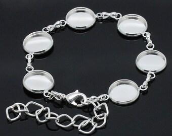 2pcs Silver Photo Bracelet Blanks - Bezel Setting Bracelet - Blank Bezel Jewelry 12mm - Antique Silver 6 Blank Pads Photo Bracelet Bulk B41