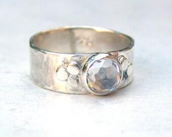 Handmade Engagement Ring, Anniversary ring,Fine 925 Silver ring,White Topaz Gemstone Similar diamond ring MADE TO ORDER, Gift for her,