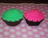2 Handmade Crochet Catnip Cupcakes -  Green and Pink