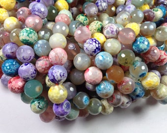 32 pcs 12mm faceted round multi color agate beads