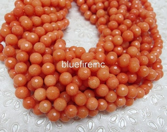 46 pcs beads 8mm round faceted dyed jade in orange color