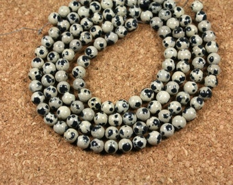 37 pcs 10mm round smooth natural color Dalmation jasper beads