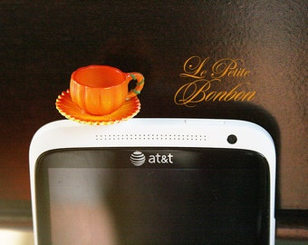 Pumpkin halloween tea cup cell phone plug charm