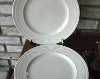 Shenango China Anchor Hocking White Ironstone Pair of Plates For Mix and Match Shabby Chic