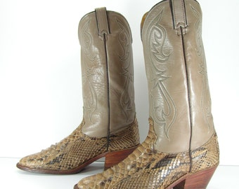 snake skin cowboy boots womens 10 m b bone & brown western mens 8.5 D python vintage
