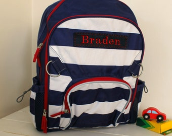 Backpack with Personalization Pottery Barn (Large Size) --Navy/White Stripe