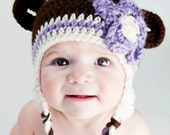 Made To Order Cutest GIRL Monkey in Town Brown & Lilac Hat Sizes Newborn to 5T