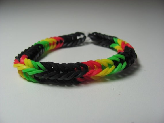 items similar to rainbow loom rubber band stretch bracelet fish tail pattern rastafarian colors. Black Bedroom Furniture Sets. Home Design Ideas