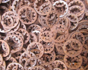 Rusty Lock Washer, Sprocket, cog, gear, steampunk (20) metal rusty pieces