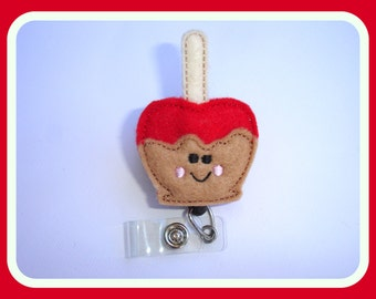 Retractable Badge Holder Retractable - Caramel apple - red amd tan felt - nurse medical staff teacher badge reel
