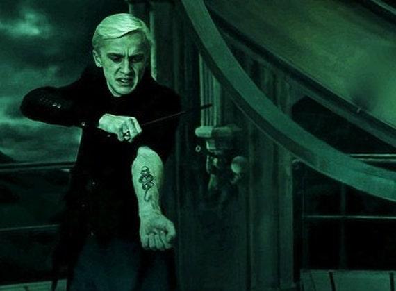 Dark mark temporary tattoo harry potter inspired 4 inch black for Harry potter death eater tattoo