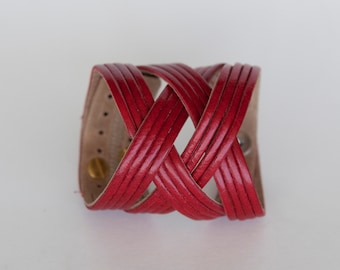 Red Leather Cuff  - the Jazz