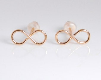Rose gold infinity earrings, post earrings, entirely with 14K rose gold filled material