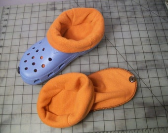 Socks / liners for croc, crocs or clogs -  Great for winter ~ ORANGE ~