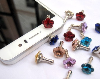 10pcs/lot Flower Dust Plug Universial 3.5mm for iPhone 4/4s 5/5s/5c Samsung Galaxy Note - Mixed Colour
