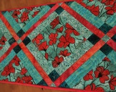 """ON SALE! Quilted Table Runner """"Poppy Garden"""" in Shades of Turquoise and Scarlet Red"""