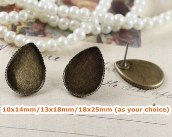 40 Blank Post Earring- Brass Antique Bronzed Saw-Toothed 10x14mm/ 13x18mm/ 18x25mm Teardrop Bezel Setting (Rubber Ear Nuts included)- Z5969