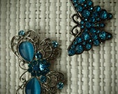 2 Vintage, Rhinestone, Blue, Butterfly, Brooches, Pins