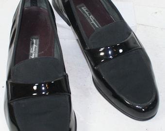Vintage salvatore ferragamo black patent leather mens loafer giant feet 15 EE