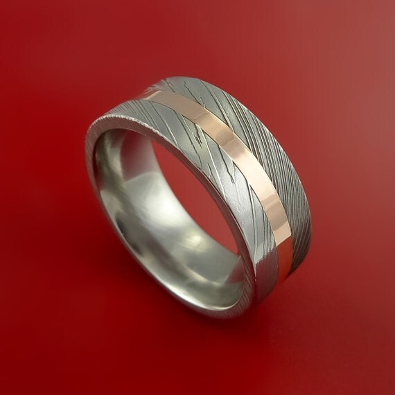 Damascus Steel 14K Rose Gold Ring Wedding by StonebrookJewelry