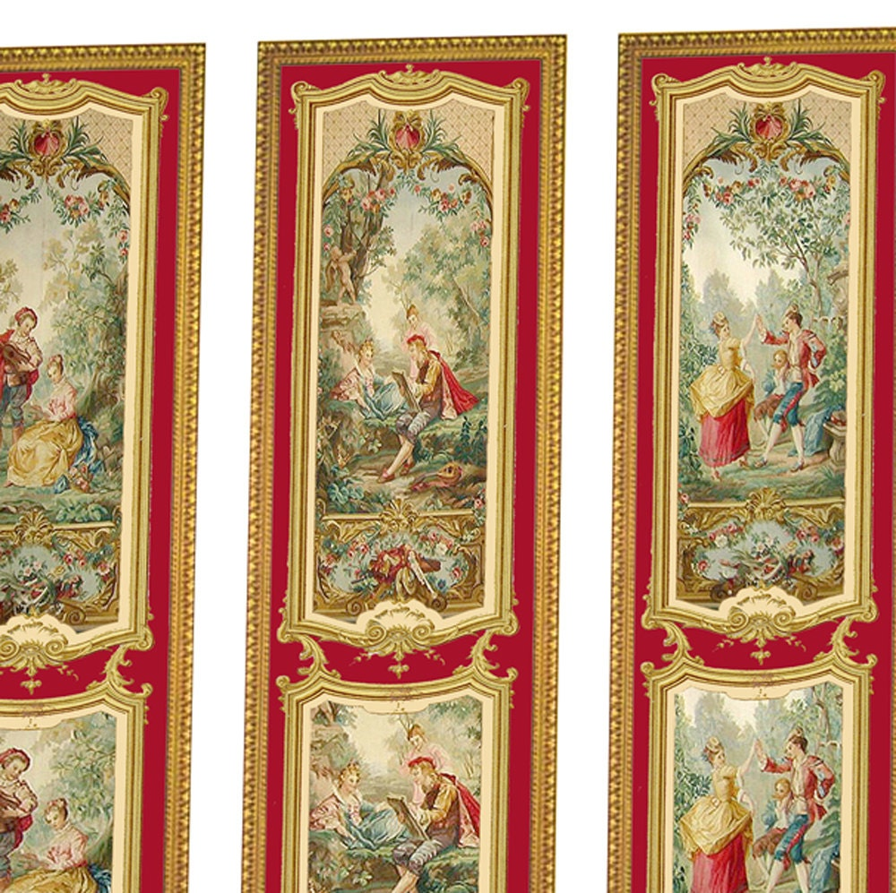 Victorian Wall Panels Wallpaper 1 12th Or 1 24th Scale 06