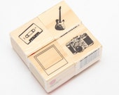 NEW Guitar Cassette Tape Polaroid Border Paxette Camera Vintage Style Retro  set of 4 Mini Small Wood Mounted Rubber Stamp Studio G