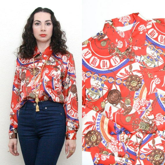 Vintage 80s 90s Revival Regal Baroque Red Scarf Print Blouse Medium Opulent Glam Hipster Hip Hop