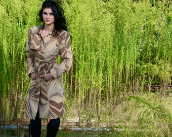 Vintage 1980s Desert PRINT NEutral BELTED TRENCH Coat Women's Jacket