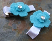 Clippies - Felt Flower Clippies - Hair Clips - Barrettes - Hairclips - Aqua (Set of 2)