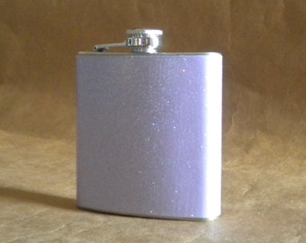 Light Purple or ANY Color Sparkly 6 ounce Stainless Steel Girly Gift Flask KR2D7537