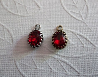 10X8mm Ruby Red Charm - Czech Glass Gems - Your Choice Settings - Qty 2